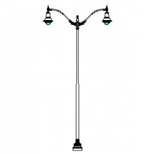 Niland-24 Series Base w/ Manchester Series Double Arms & Boston Common-26 Luminaires