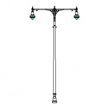 Cambridge Series Base w/ Cambridge Series Double Arms & Boston Common-18 Series Luminaires