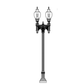 Cleveland-17 Series Base w/ Capitol Series Dbl Arms & Capitol 5015 Luminaires