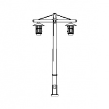 Aspen Series Tapered Square Pole w/ Aspen Series Dbl Arms & Aspen Series Pendant Luminaires