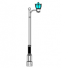 Canton Series Base w/ Canton Series Single Arm & Canton Series Luminaire