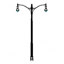 Grand Bealle Street Series Base w/ Bull Series Double Arms & Boston Common Series Pendant Luminaires