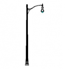 Grand Bealle Street Series Base w/ Bull Series Single Arm & Boston Common Series Pendant Luminaire